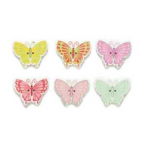 30pcs Butterfly Shape Wood Buttons Sewing Clothing Scrapbook Crafts Decor 30mm