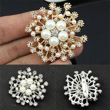 Pearl Rhinestone Crystal Vintage Flower Brooch Pin Brooches For Women Gift RHZT