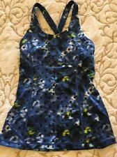 Lululemon Kanto Catch Me Tank Size 4 Windy Blooms Sapphire Blue/Navy Blue NWT