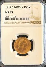 More details for 1915 gold sovereign ngc ms63 great britain
