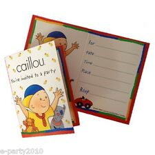 CAILLOU INVITATIONS (8) ~ Birthday Party Supplies Stationery PBS Kids Cards Note