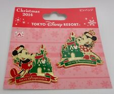 Disney TDR Christmas 2014 2 Pin Set Mickey & Minnie With Castle