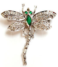 and Diamond Dragonfly Pin 14K Solid White Gold Emerald