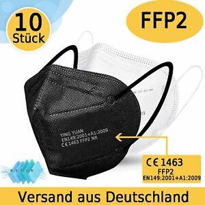 FFP2 Mundschutz Maske Schwarz 5-Lagig Atemschutzmaske CE 1463 Zertifiziert
