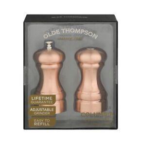 Olde Thompson Columbia Copper Pepper Mill & Salt Shaker Set New In The Box