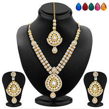 Sukkhi Gold Plated AD Necklace Set, Set of 5 Changeable Stone(2348NADA1640)