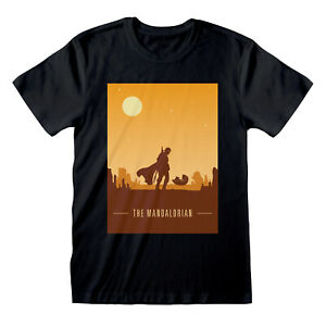OFFICIAL STAR WARS THE MANDALORIAN BABY YODA SUNSET SILHOUETTE BLACK T-SHIRT
