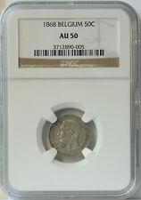1868 Belgium 50 Cent AU50 NGC. Key Date and Very Original Look.