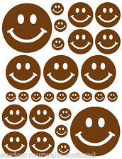 56 BROWN SMILEY FACE SHAPED VINYL DECAL STICKER TEEN BABY NURSERY BEDROOM WALL