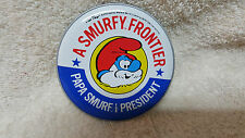 1984 Smurf For President  Sticker Button Badge  PAPA SMURF  /  MINT !!!