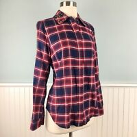 Size Small S Michael Kors Red Plaid Flannel Studded Button Up Shirt Top Blouse