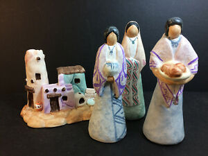 Janet Haefner NOTED ARTIST ~ New Mexico Art Pottery ~ 3 women & Pueblo Buildings