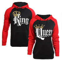 King And Queen Couple Matching Hoodie Pullover Sweatshirt Jumper Sweater Tops US