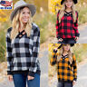 Plus Size Women's Plaid Checked T-Shirt Long Sleeve Casual Tunic Tops Blouse US
