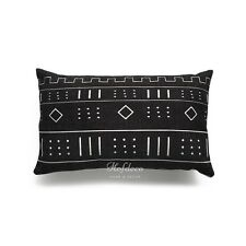 "Cushion Cover Heavy Weight African Mud Cloth Ethnic Black Natural Geo Stripe Pattern F 20""x12"""