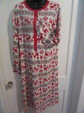 Hanna Andersson 100% Organic Cotton Knit Sz L Nightgown Christmas Reindeer! Peru