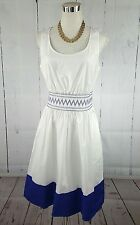 NWT $348 KATE SPADE SMOCKED WAIST ELASTIC POPLIN WHITE DRESS M