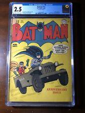 Batman #12 (1942) - 1st Batcave! Joker! Golden Age! WW2 Cover! - CGC 2.5 - Key!
