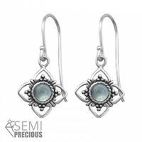 925 Sterling Silver Flower with Chalcedony Gemstone Drop/Dangle Earrings