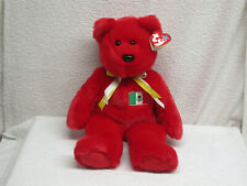 """1999 Large Ty """"Osito� Beanie Buddy Bear with Tags - 14� Tall w/Mexico Flag"""