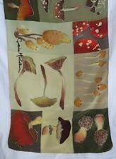 "Vintage Silk Cynthia MacCollum Art Scarf Fall Colors Wild Mushrooms 15x58"" Long"