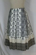 CHARTER CLUB A Line Skirt Size 12 LARGE Black White 100% Cotton Lined Side Zip