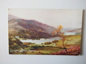 Loch Achray & Loch Vennachar from Ben Venue Old Postcard Art Colour Brian Gerald