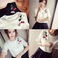 Women Girl Round Neck T-Shirt Summer Short Sleeve Casual Loose Tops Blouse Tee
