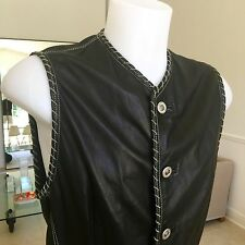 1993 vintage GIANNI VERSACE leather vest with chain stitch detail size ITA 50