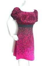 Designer KAREN MILLEN leopard print silk dress size 12 --BRAND NEW-- bow detail