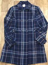 TU Navy Check Plaid Double Breasted Light Trench Mac Coat UK16 Smart A29