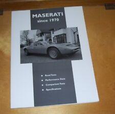 MASERATI since 1970. ROAD TEST BOOK. CP PRESS. BORA GHIBLI INDY MERAK KHASMIN