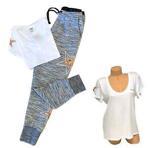 Victorias Secret PINK 🎀 Bling Tshirt Tee High Waist Jogger Pants Set XS / Small