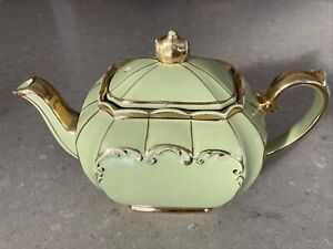 Sadler England Antique Teapot Chromium Green And Gold Vintage 1922Et 1937+