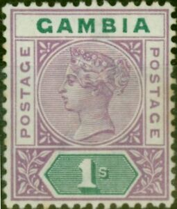 Gambia 1898 1s Violet & Green SG44 Good Mtd Mint