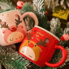 """""""Dear Reindeer"""" Cute Ceramic Mug Cup with Lid Spoon Tea Milk Coffee Cup Gift"""