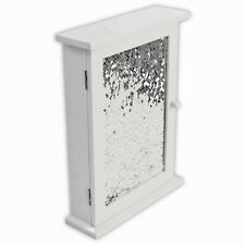 6 Hooks White Wooden Key Storage Box with Sequins Wall Decor Hanging Keys Holder