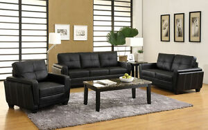 Deep Black Leatherette 2 pc Sofa Love-seat Chair Contemporary White Stitching