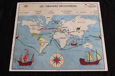 Affiche scolaire Les Grandes découvertes Europe au 16 siècles Rossignol 89*75cm