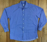 Peter Millar Button Up L/S Dress Shirt Mens Sz 16 R Cotton Blue White Plaid