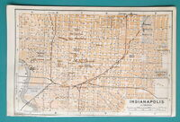 "INDIANAPOLIS Indiana City Town Plan - 1909 MAP Baedeker 4 x 6"" (10 x 15,5 cm)"