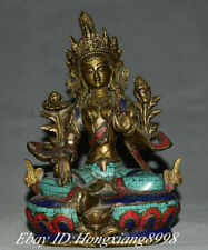 "8"" Tibet Purple Bronze Gilt Inlay Turquoise Buddhism Green Tara Goddess Statue"