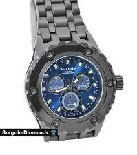 mens big black heavy steel sports dress watch blue dial bracelet designer style
