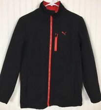 Youth Boys Puma Soft Shell Jacket/Coat Black/Red Sz Large Zip Up