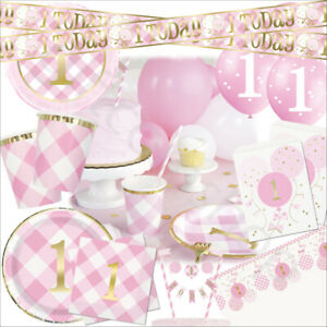Pink Gold First 1st Birthday Girl Party Decorations Balloons Tableware Supplies