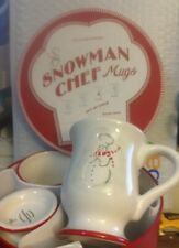 WILLIAMS-SONOMA Set of 4 Snowman Chef Mugs Christmas 2007 NEW
