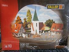 Faller H0 190416 Dorf-Set 4 Bausätze Kirche, Brunnen, 2 Häuser NEU in Folie