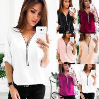Fashion Womens Long Sleeve Loose V Neck Blouse Casual T-Shirt  Chiffon Tops New