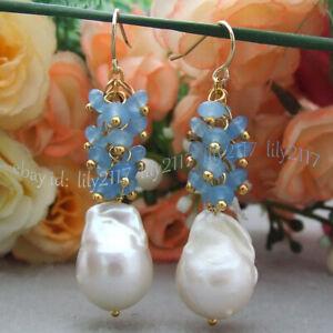 Natural White Baroque Keshi Pearl & Faceted Blue Jade Dangle Gold Hook Earrings