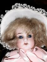 Antique 12-Inch Bisque Head Doll 12/0 with  Human Hair Wig In Sweet Ensemble